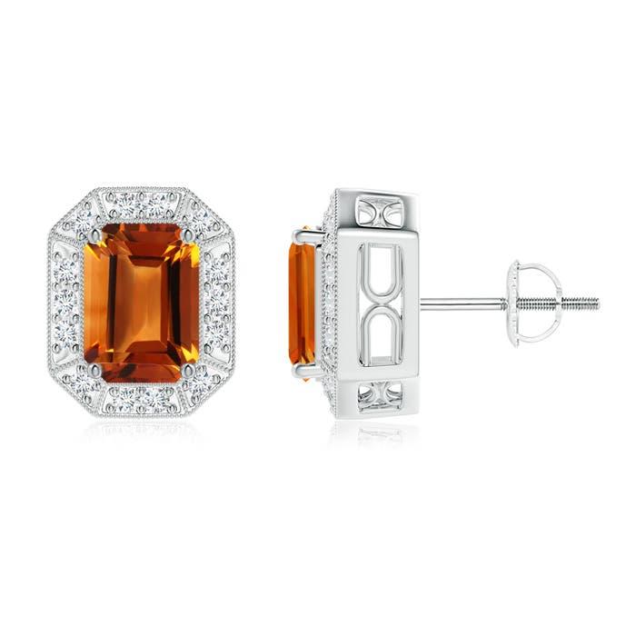 Angara Emerald-Cut Emerald Stud Earrings with Diamond Halo gFAzn3f