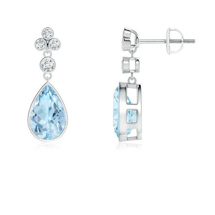 Angara Bezel-Set Aquamarine Teardrop Earrings with Diamond Accents e7ilwW