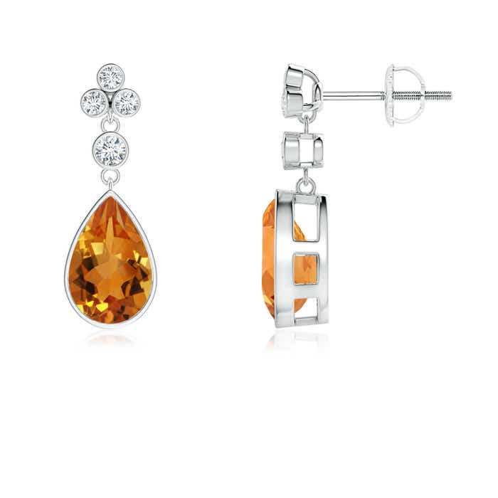 Angara Bezel-Set Citrine Teardrop Earrings with Diamond Accents