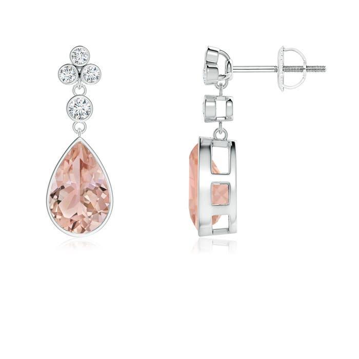 Angara Pear Morganite Earrings in Platinum DfsKAhFb