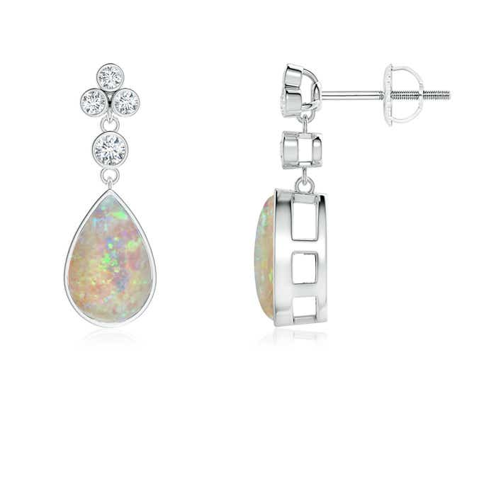 Angara Bezel Drop Cabochon Opal Diamond Solitaire Earrings in White Gold