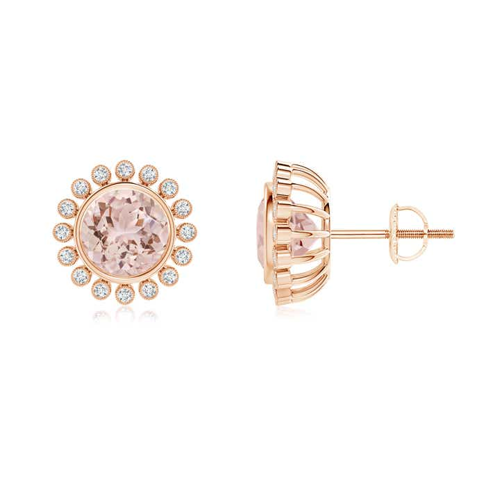 Angara Claw-Set Morganite and Diamond Halo Stud Earrings