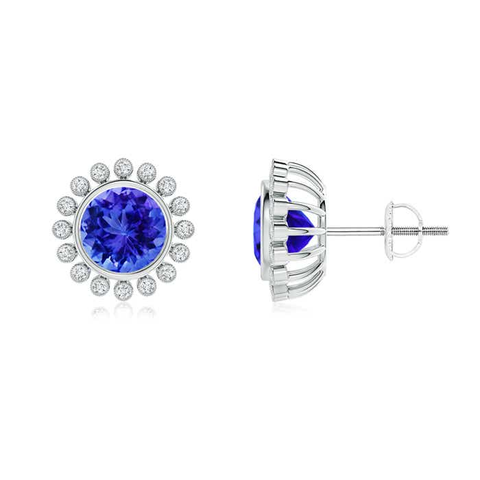 Angara Round Tanzanite and Diamond Halo Stud Earrings in Rose Gold CNektPwvN