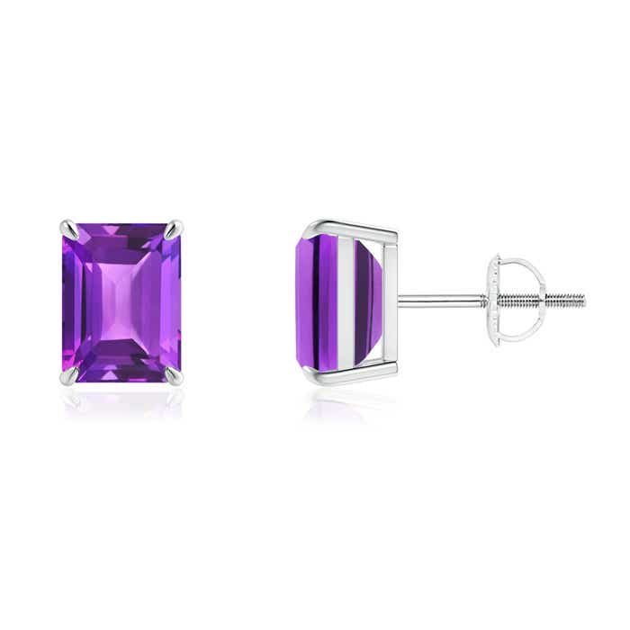 Angara Emerald-Cut Amethyst Stud Earrings in White Gold