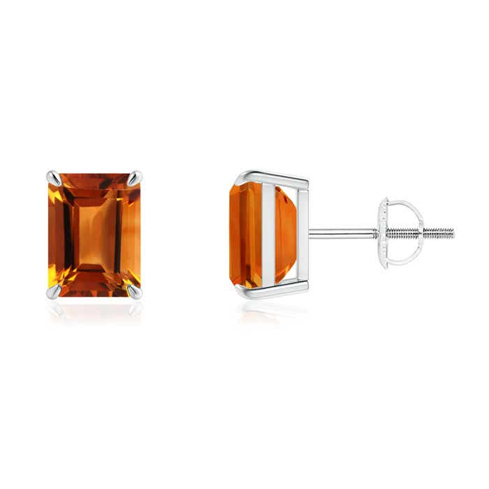 Angara Claw Emerald-Cut Citrine Solitaire Earrings in Yellow Gold Ud7kv1ZF