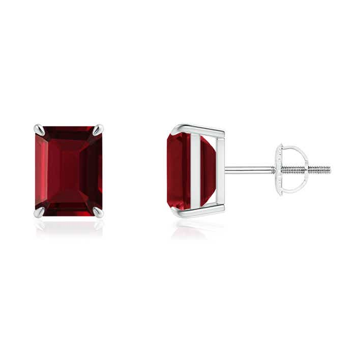 Angara Claw Emerald-Cut Garnet Solitaire Earrings in Platinum DkhsxDY