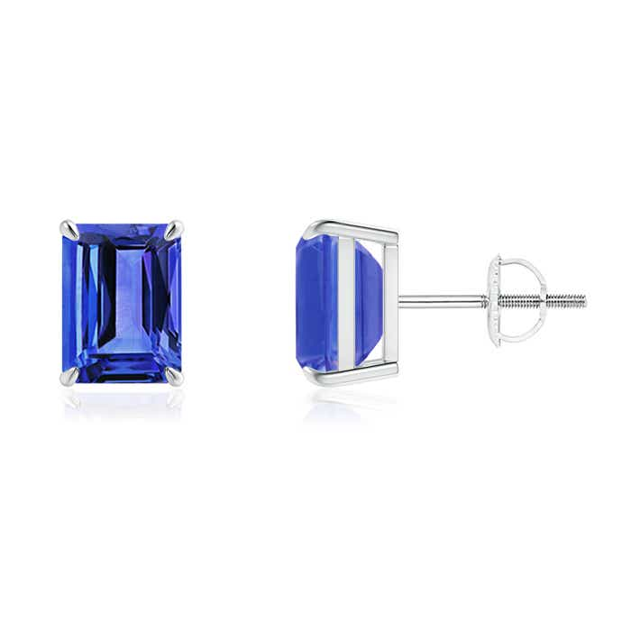 Angara Claw Emerald-Cut Tanzanite Solitaire Earrings tgfk4xC23n