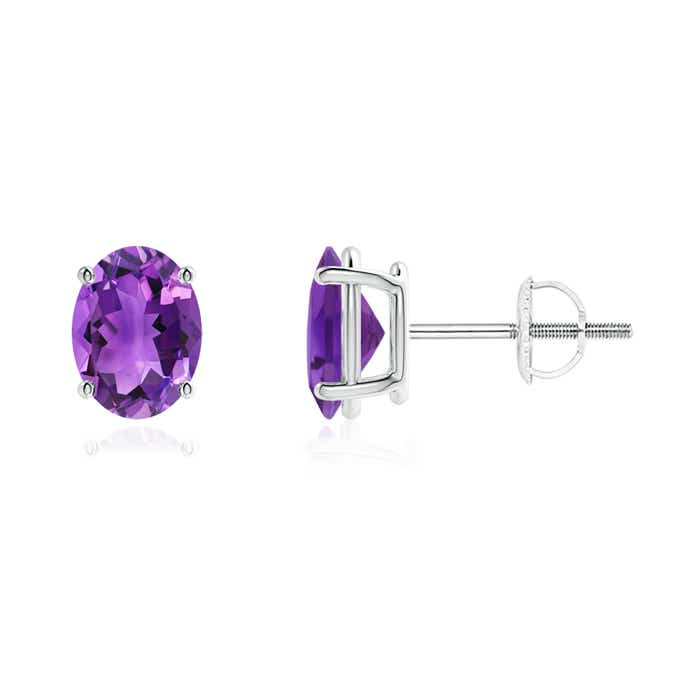 Angara Oval Amethyst and Diamond Shell Stud Earrings in White Gold DaAIAu