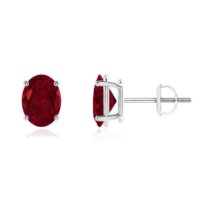 Angara Garnet Stud Earrings in Rose Gold rPTp7