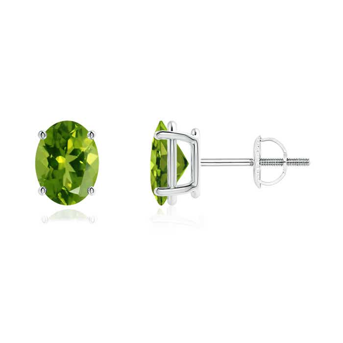 Angara Round Peridot Stud Earrings in White Gold