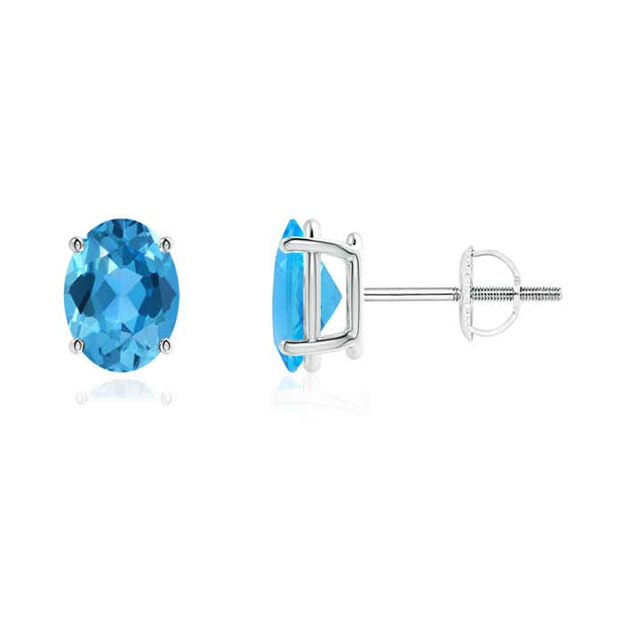 Angara Semi-Bezel Oval Swiss Blue Topaz Solitaire Earrings