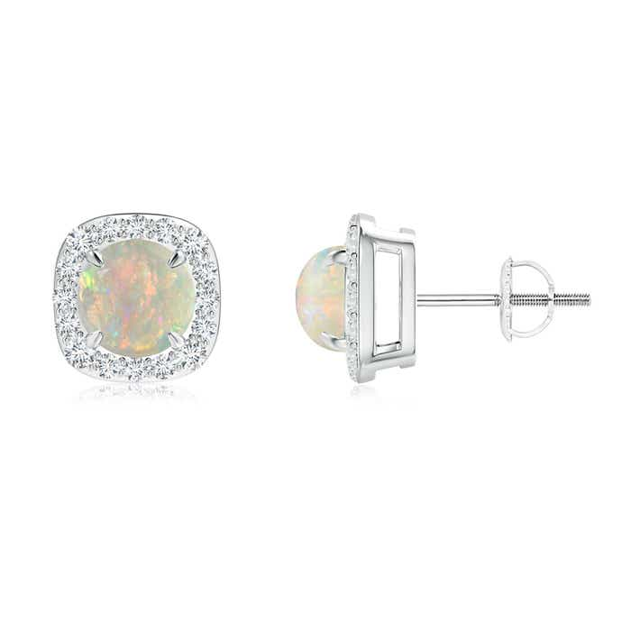 Angara Cabochon Opal Stud Earrings in Rose Gold