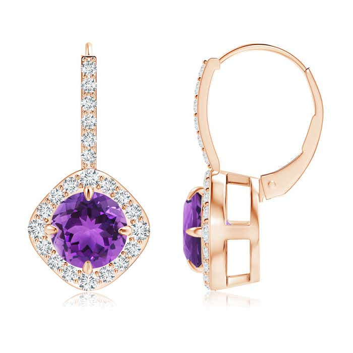 Angara Amethyst and Diamond Leverback Earrings in Rose Gold 33eEN