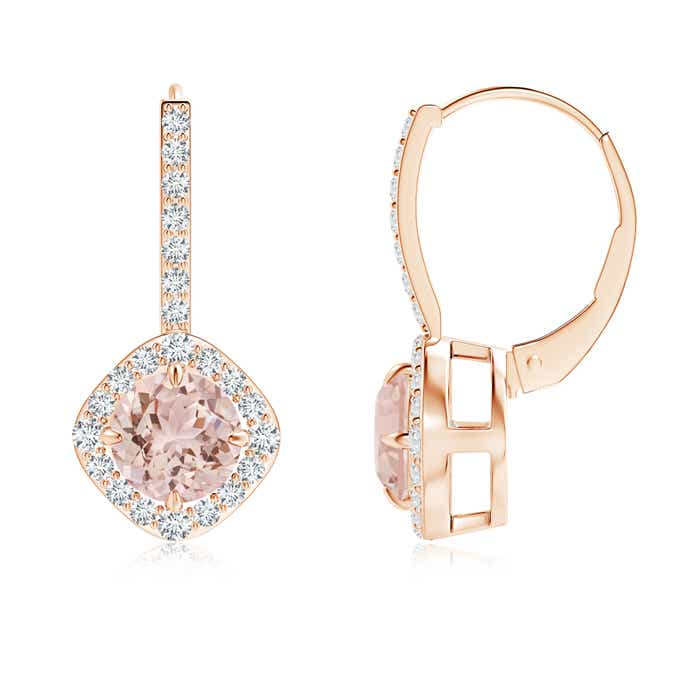 Angara Dangling Morganite and Diamond Halo Earrings in White Gold K6Wrf