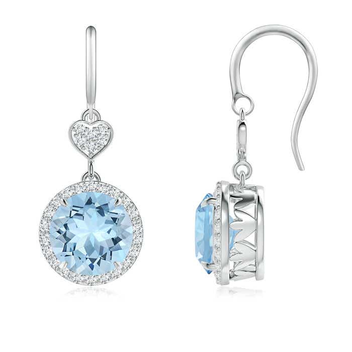 Angara Claw-Set Aquamarine Dangle Earrings with Diamond Heart Motif MyAbep