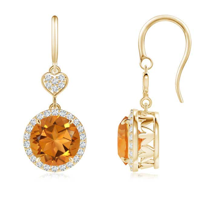 Angara Round Citrine Dangle Earrings with Diamond Halo in Rose Gold ITwm6