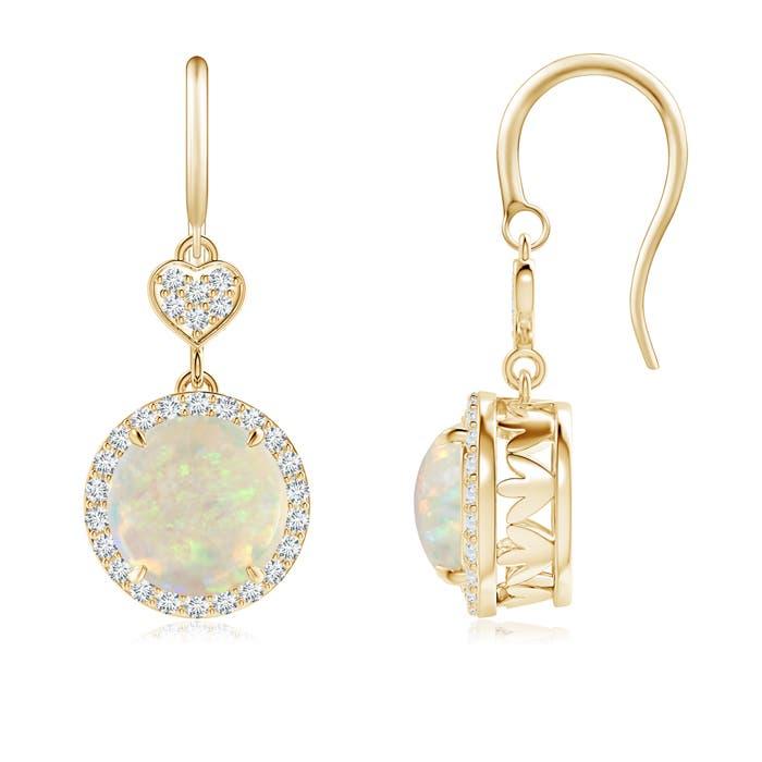 Angara Claw-Set Citrine Dangle Earrings with Diamond Heart Motif ohuLivGY