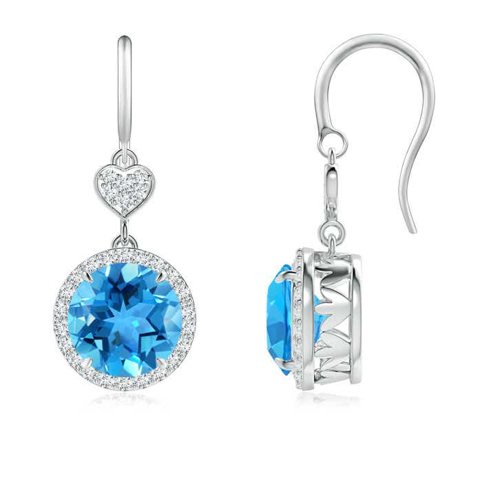 Angara Claw-Set Swiss Blue Topaz Dangle Earrings with Heart Motif PoX5Gnc