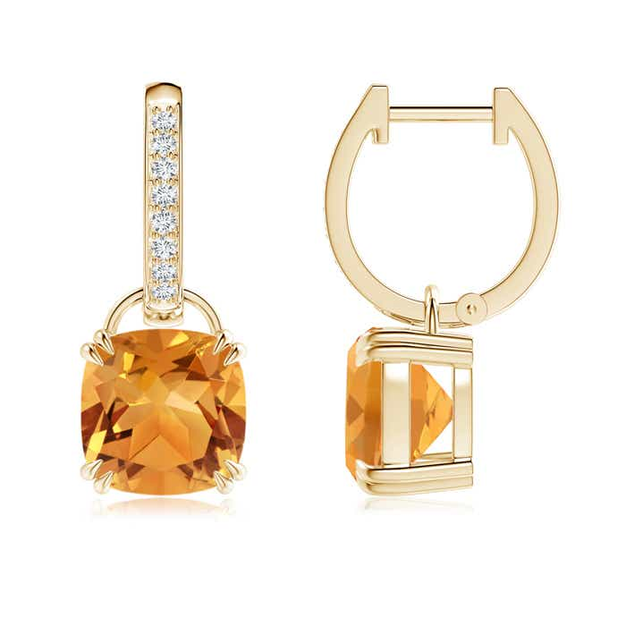 Angara Solitaire Double Claw Cushion Citrine Dangling Earrings in Yellow Gold YS1WXVG
