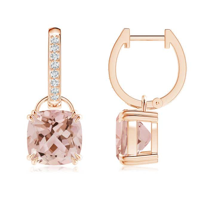 Angara Cushion Morganite Dangle Earrings with Diamonds