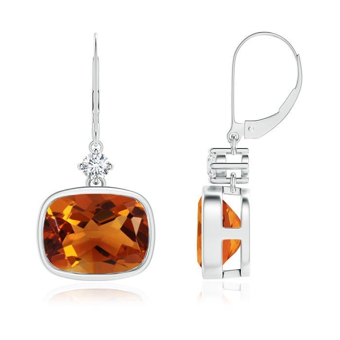 Angara Cushion Citrine Drop Earrings with Diamond Accents JJ9PYPe