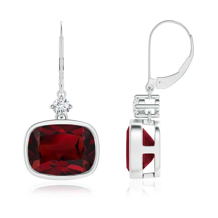 Angara Cushion Garnet Halo Earrings with Diamond Clusters cFrzP