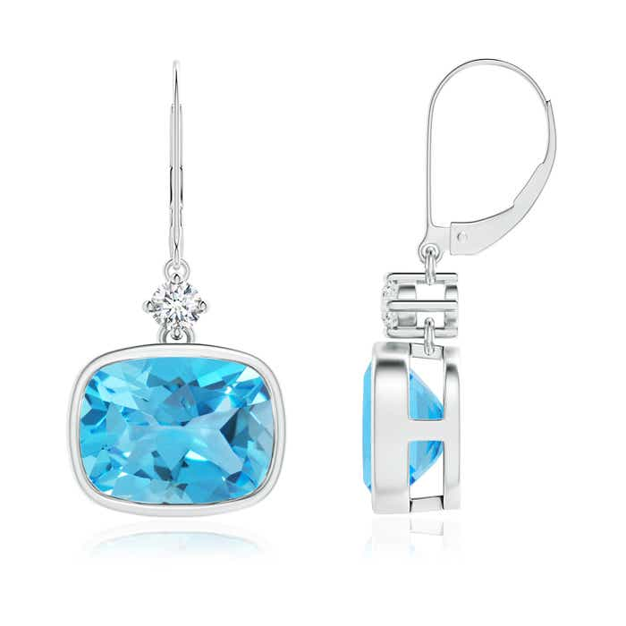 Angara Cushion Swiss Blue Topaz and Diamond Dangle Earrings 64Rfji4