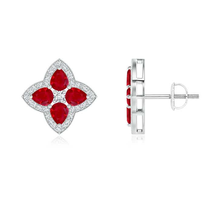 Angara Pear Shaped Ruby Stud Earrings in Platinum 9DEVP