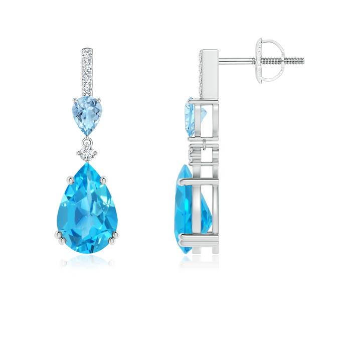 Angara Pear Swiss Blue Topaz Halo Dangle Earrings with Diamonds SmYZH