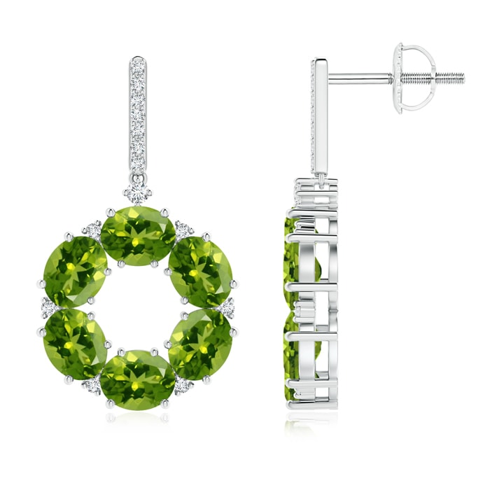 Angara Round and Oval Peridot Dangle Earrings with Diamond Accents QeIx3s