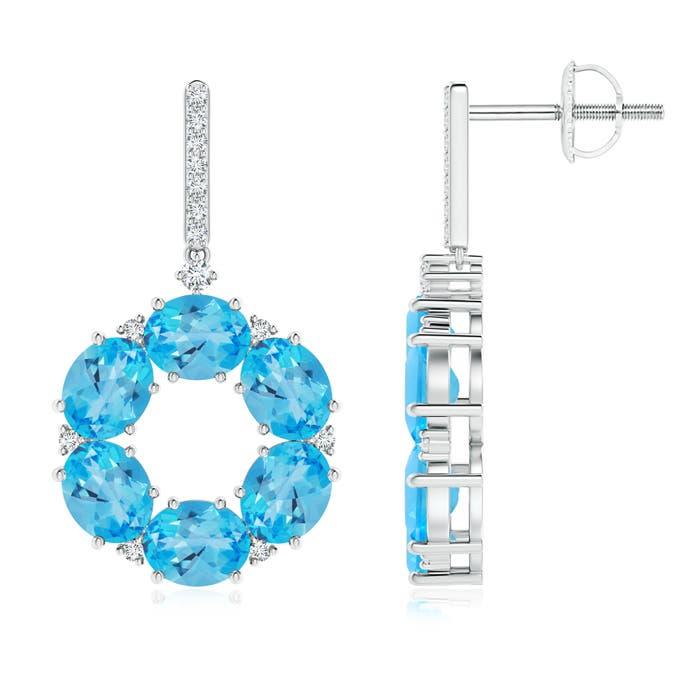 Angara Claw-Set Oval Swiss Blue Topaz and Diamond Halo Earrings nmDGJjk