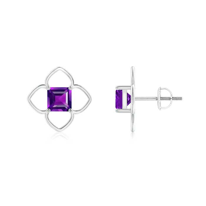 Angara Solitaire Square Amethyst Clover Earrings C87A9Dn