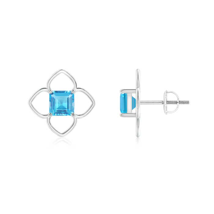 Angara Solitaire Square Swiss Blue Topaz Clover Earrings I20iXzbet