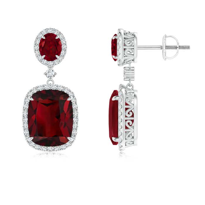 Angara Square and Pear Garnet Drop Earrings with Diamond