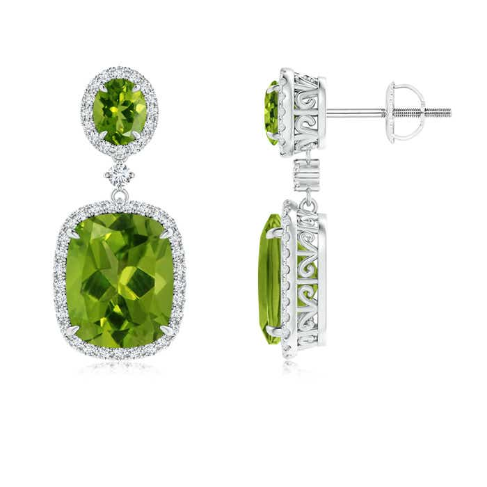 Angara Round Peridot Diamond Halo Dangle Earrings in Rose Gold mec9riyVwN