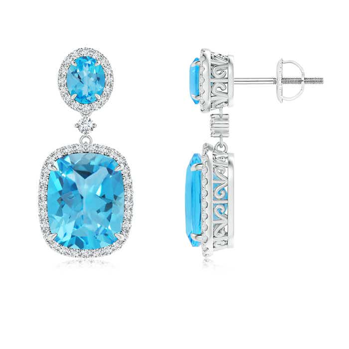Angara Oval London Blue Topaz Dangle Earrings with Diamonds