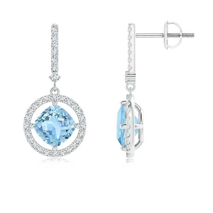 Angara Round Aquamarine Diamond Halo Dangle Earrings in White Gold mgSXyXZN