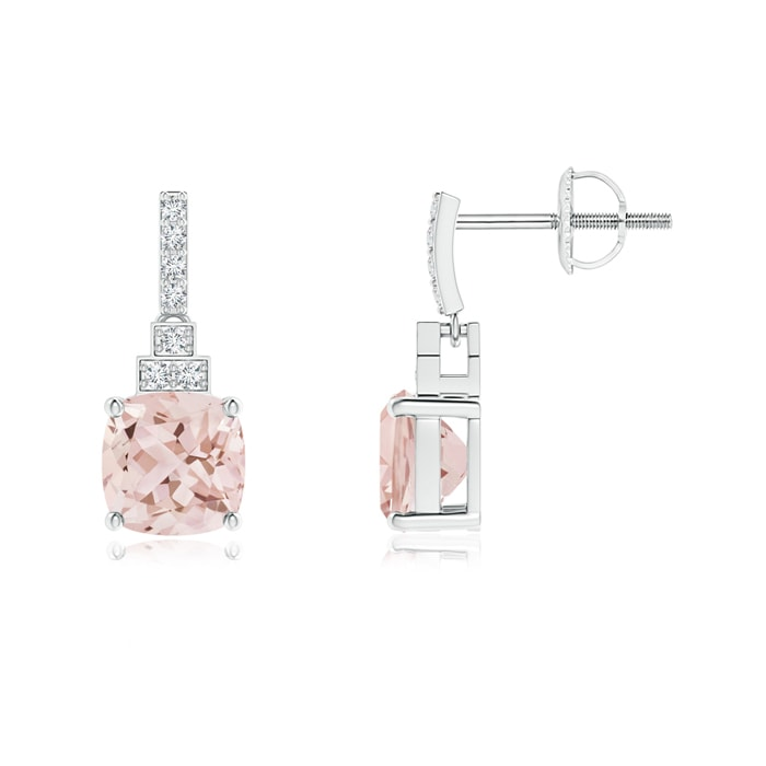 Angara Cushion Morganite Halo Earrings with Diamond Clusters