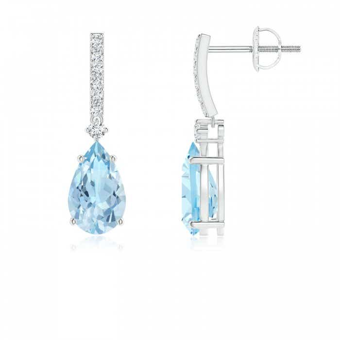 Angara Round Aquamarine Dangle Earrings with Diamond Halo in Rose Gold UWNQ2336j