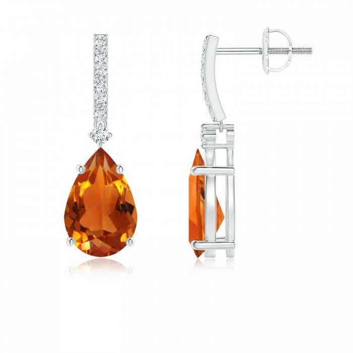 Angara Pear Shaped Citrine Leverback Earrings in Yellow Gold mgonCmD6
