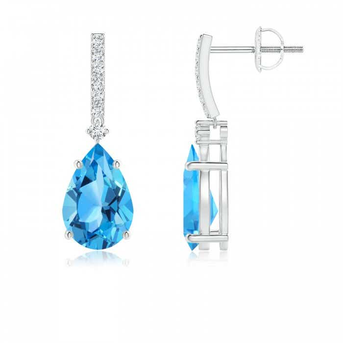 Angara Solitaire Pear Swiss Blue Topaz Drop Earrings with Diamonds fFQW7z