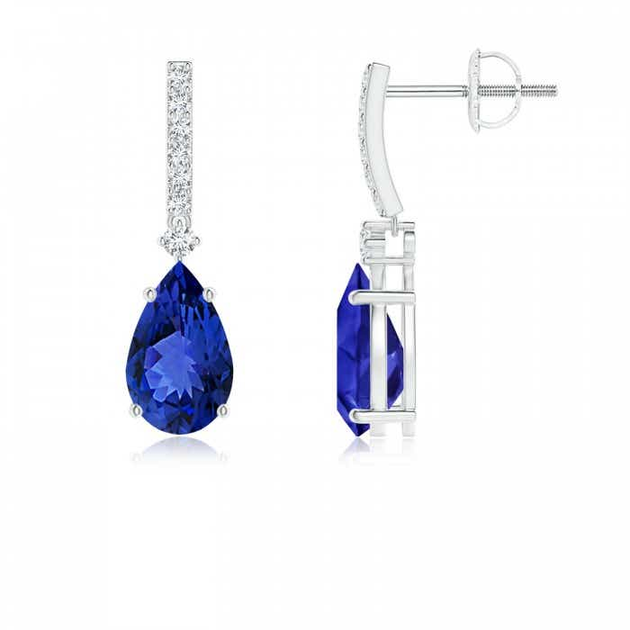 Angara Solitaire Pear Tanzanite Drop Earrings with Diamonds 3kPyuDG