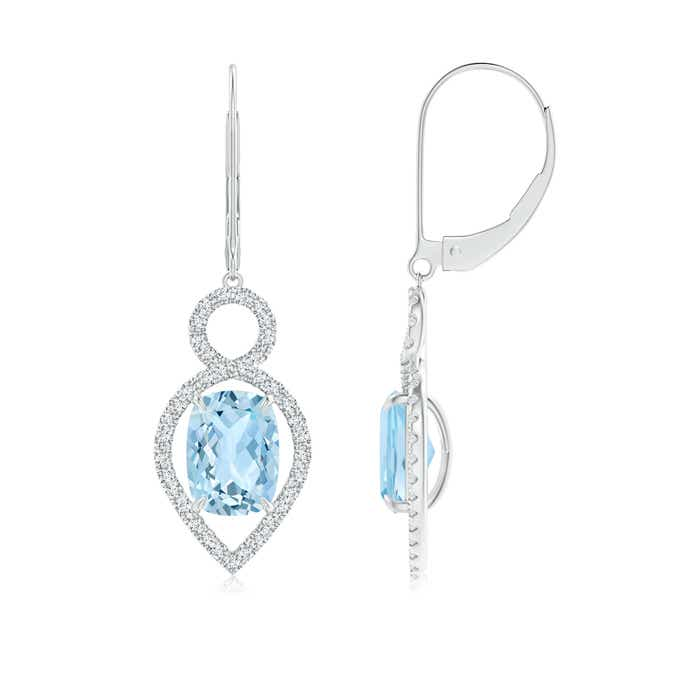 Angara Cushion Aquamarine Infinity Drop Earrings with Diamonds 8e2MhXVHnz