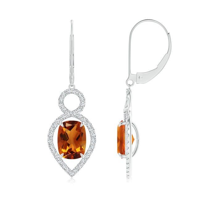 Angara Citrine Leverback Earrings in Platinum B8V1C9X