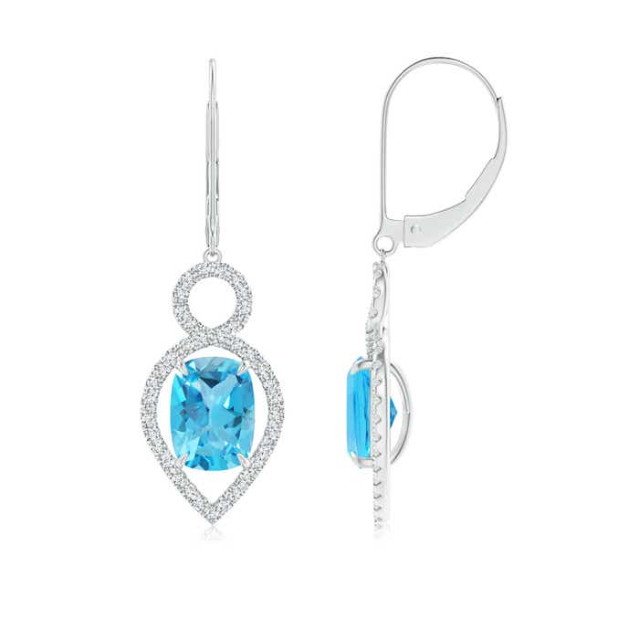 Angara Cushion Swiss Blue Topaz Drop Earrings with Diamond Accents