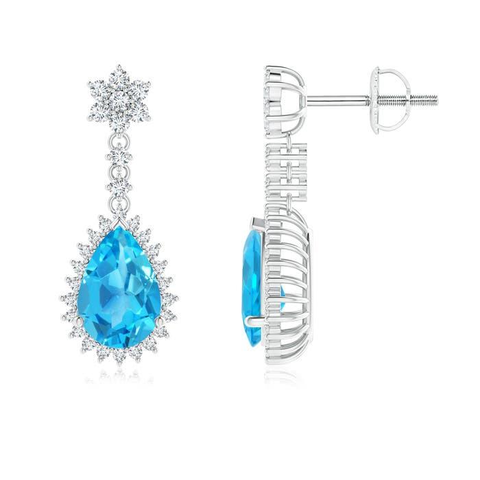 Angara Pear Swiss Blue Topaz Halo Dangle Earrings with Diamonds TVVFS7o7