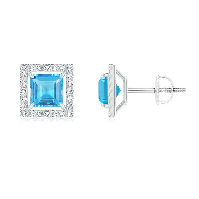 Angara Solitaire Square Swiss Blue Topaz Clover Earrings GDcebZxM