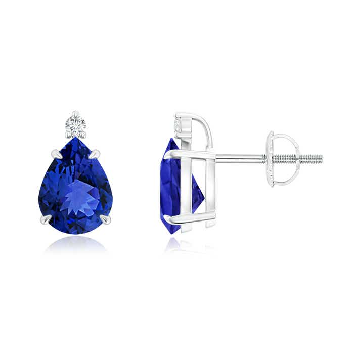 Angara Sapphire Solitaire Studs - Pear Shaped Earrings CbF9EhvU9z