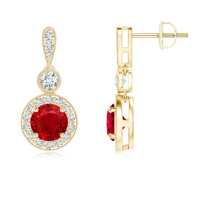 Angara Diamond Halo Ruby Dangle Earrings in Yellow Gold