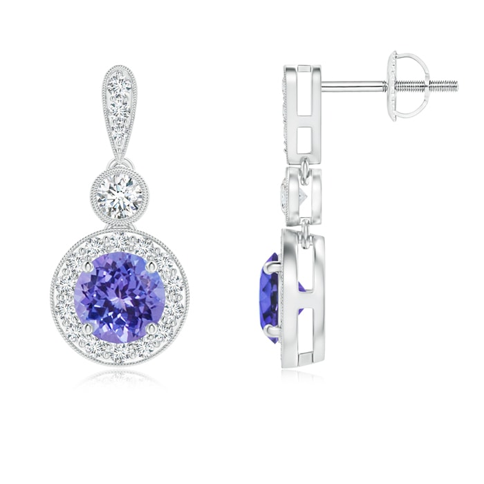 Angara Dangling Tanzanite and Diamond Halo Earrings in 14K Yellow Gold t6fNgepDR